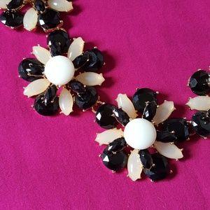 Black floral statement necklace NEW
